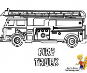 Coloriage et dessins gratuit Camion Pompier à décorer à imprimer