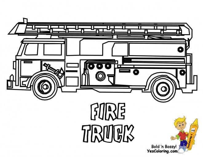 Coloriage et dessins gratuits Camion Pompier à décorer à imprimer