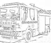 Coloriage Camion Pompier américain réaliste