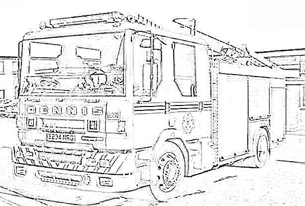 Coloriage et dessins gratuits Camion Pompier américain réaliste à imprimer