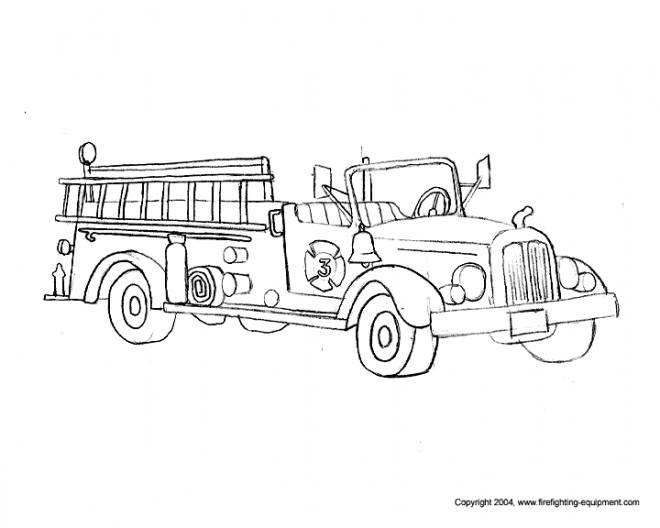 Coloriage et dessins gratuits Camion Pompier classique à imprimer