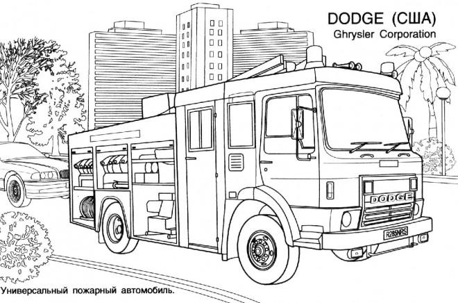 Coloriage et dessins gratuits Camion Pompier Dodge à imprimer