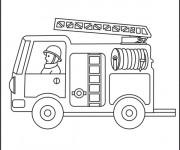 Coloriage Camion Pompier échelle