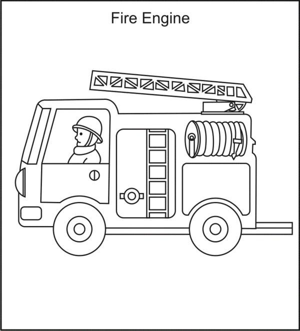 Coloriage et dessins gratuits Camion Pompier échelle à imprimer