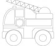 Coloriage et dessins gratuit Camion Pompier en ligne à imprimer