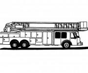 Coloriage et dessins gratuit Camion Pompier en noir et blanc à imprimer