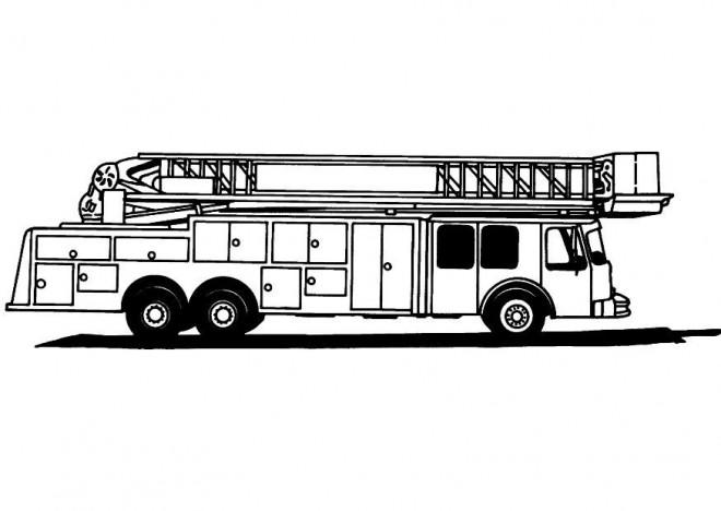 Coloriage et dessins gratuits Camion Pompier en noir et blanc à imprimer