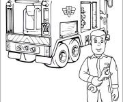Coloriage Camion Pompier en réparation