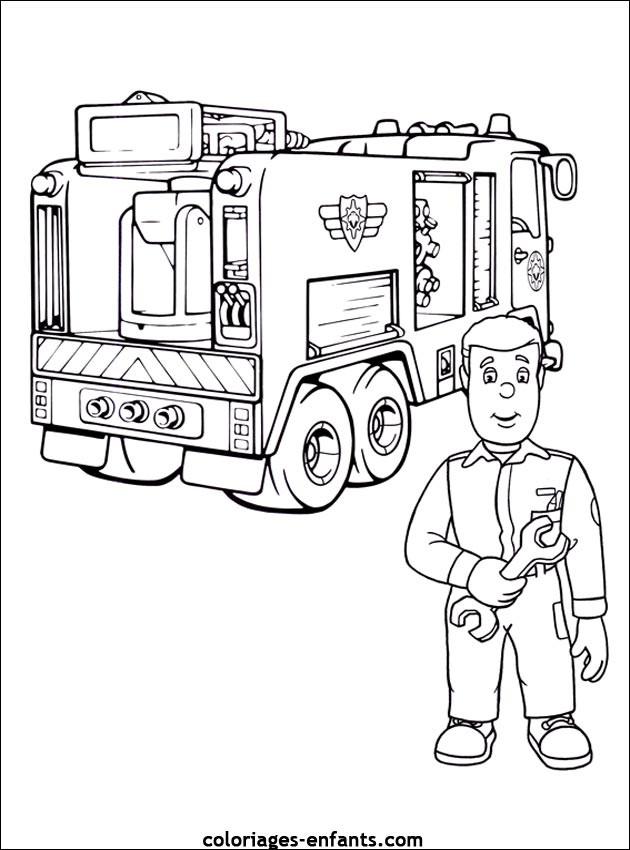 Coloriage et dessins gratuits Camion Pompier en réparation à imprimer