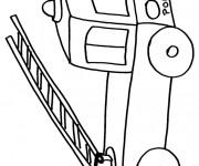 Coloriage Camion Pompier et échelle au crayon