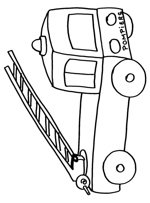 Coloriage camion pompier et chelle au crayon - Dessiner un camion de pompier ...