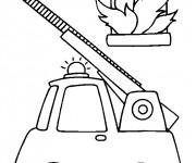 Coloriage Camion Pompier et l'incendie
