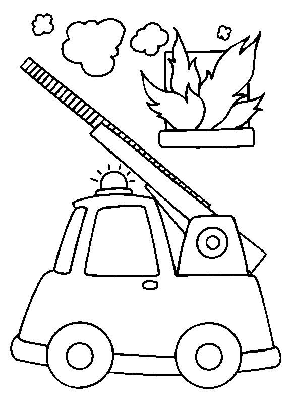 Coloriage et dessins gratuits Camion Pompier et l'incendie à imprimer