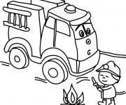 Coloriage Camion Pompier et le petit enfant