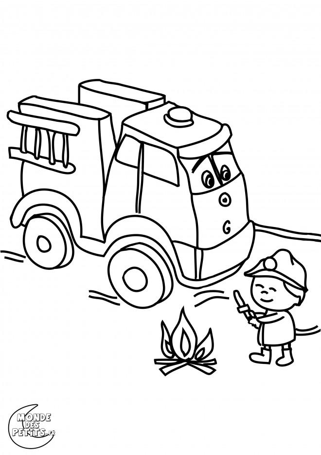 Coloriage et dessins gratuits Camion Pompier et le petit enfant à imprimer
