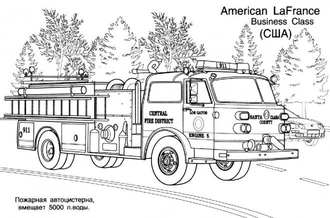 Coloriage et dessins gratuits Camion Pompier La France à imprimer