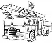 Coloriage et dessins gratuit Camion Pompier porte le drapeau américain à imprimer