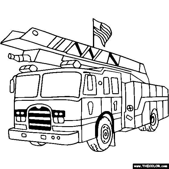 Coloriage et dessins gratuits Camion Pompier porte le drapeau américain à imprimer