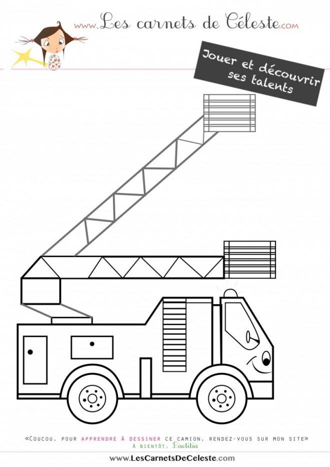 Coloriage et dessins gratuits Camion Pompier pour enfant à imprimer