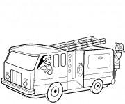 Coloriage et dessins gratuit Camion Pompier qui se dirige vers l'incendie à imprimer
