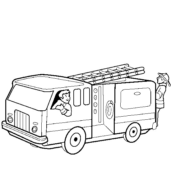 Coloriage et dessins gratuits Camion Pompier qui se dirige vers l'incendie à imprimer