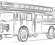 Coloriage et dessins gratuit Camion Pompier réaliste à imprimer