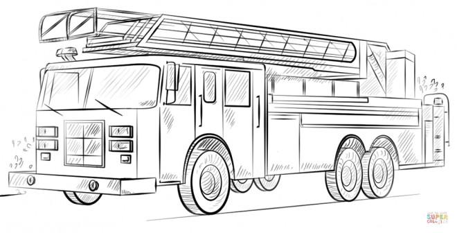 Coloriage camion pompier r aliste dessin gratuit imprimer - Dessin anime pompier gratuit ...