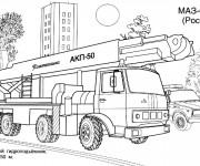 Coloriage et dessins gratuit Camion Pompier russe à imprimer