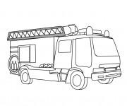 Coloriage et dessins gratuit Camion Pompier simplifié à imprimer
