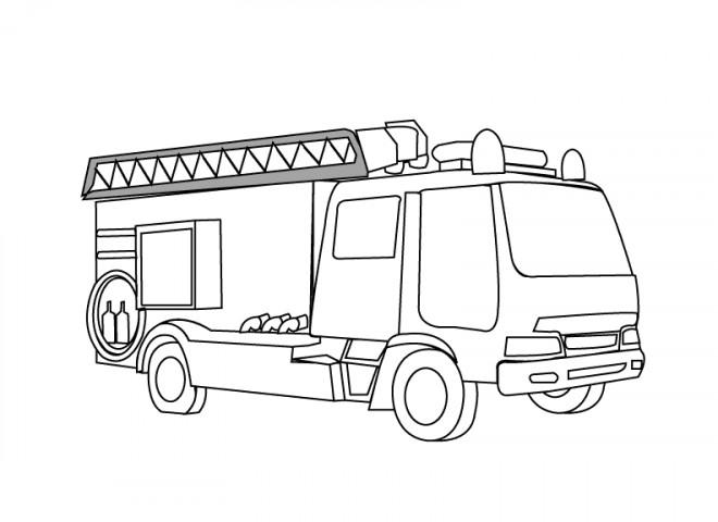 Coloriage et dessins gratuits Camion Pompier simplifié à imprimer
