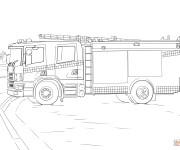 Coloriage et dessins gratuit Camion Pompier stylisé à découper à imprimer