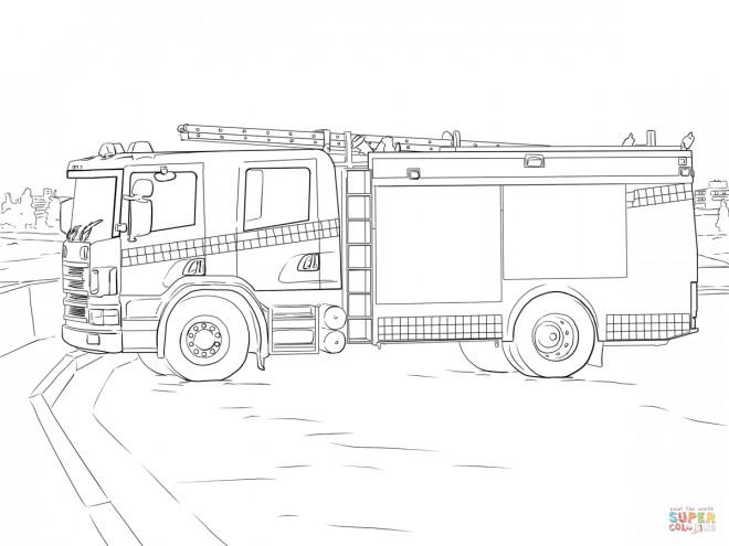 Coloriage Camion Pompier Facile.Coloriage Camion Pompier Stylise A Decouper