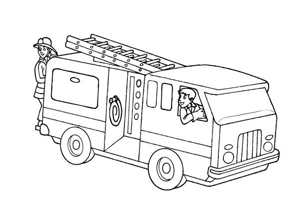 Coloriage et dessins gratuits Camion Pompier sur ordinateur à imprimer