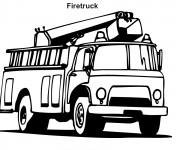 Coloriage et dessins gratuit Camion Pompier vecteur en noir à imprimer