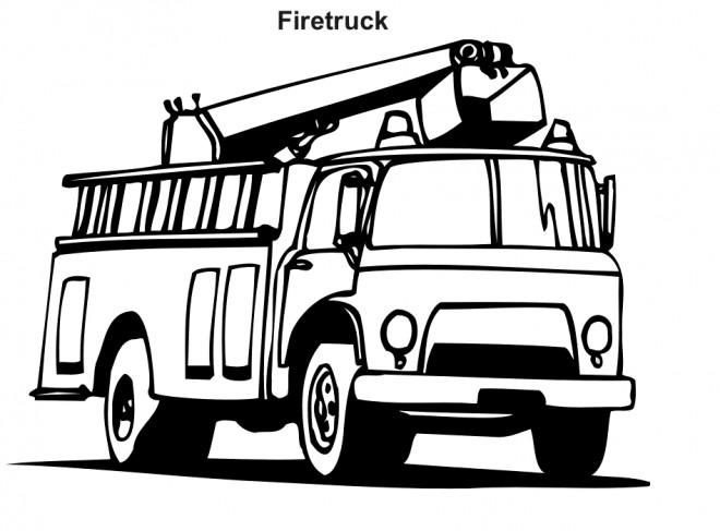 Coloriage et dessins gratuits Camion Pompier vecteur en noir à imprimer