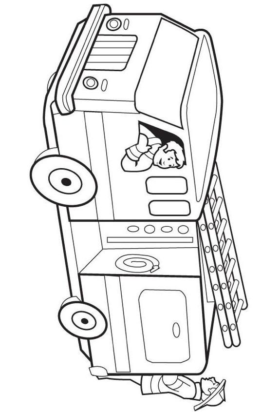 Coloriage et dessins gratuits Camion Pompier vectoriel maternelle à imprimer