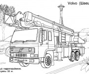 Coloriage et dessins gratuit Camion Pompier Volvo à imprimer