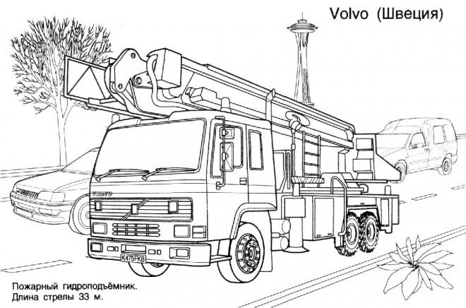 Coloriage et dessins gratuits Camion Pompier Volvo à imprimer