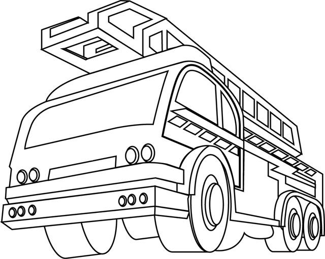 Coloriage Camion Pompier Vue De Face Dessin Gratuit A Imprimer