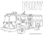 Coloriage Image Camion Pompier au crayon