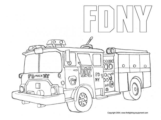 Coloriage et dessins gratuits Image Camion Pompier au crayon à imprimer