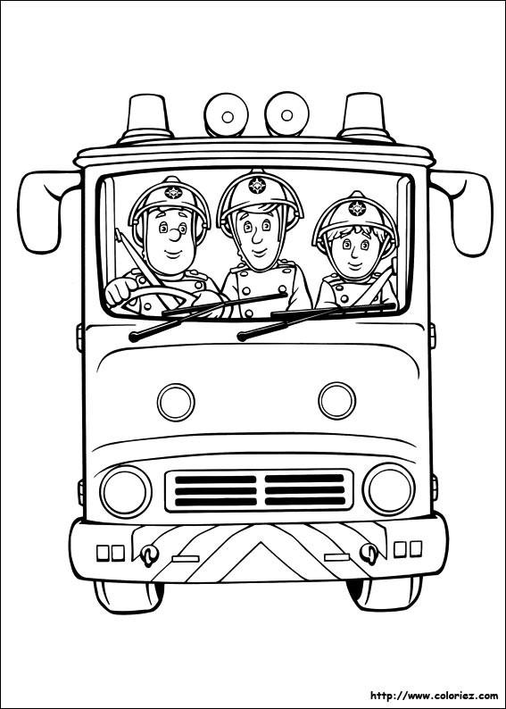 Coloriage et dessins gratuits Les Pompiers conduisent le Camion à imprimer