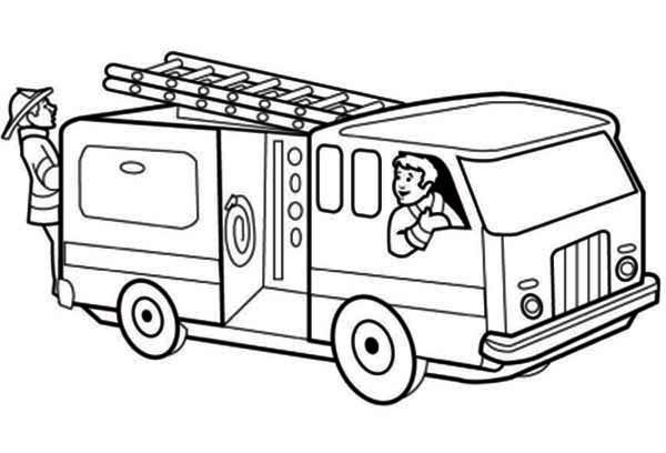 Coloriage et dessins gratuits les pompiers en exercice à imprimer
