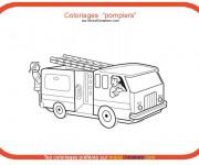 Coloriage et dessins gratuit Thème Camion Pompier à imprimer