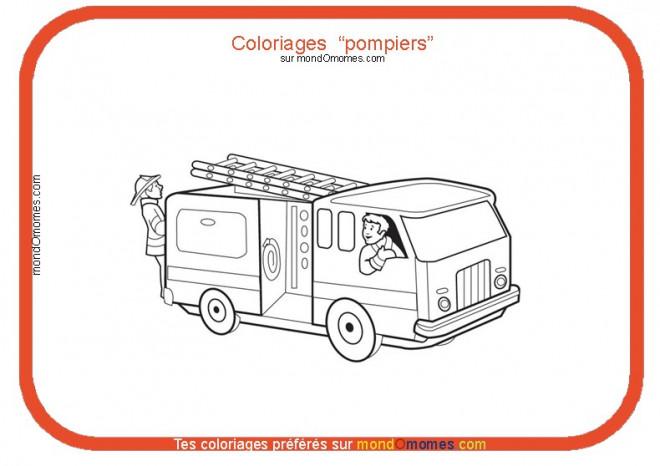 Coloriage et dessins gratuits Thème Camion Pompier à imprimer