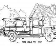 Coloriage Un Camion de Pompier ancien