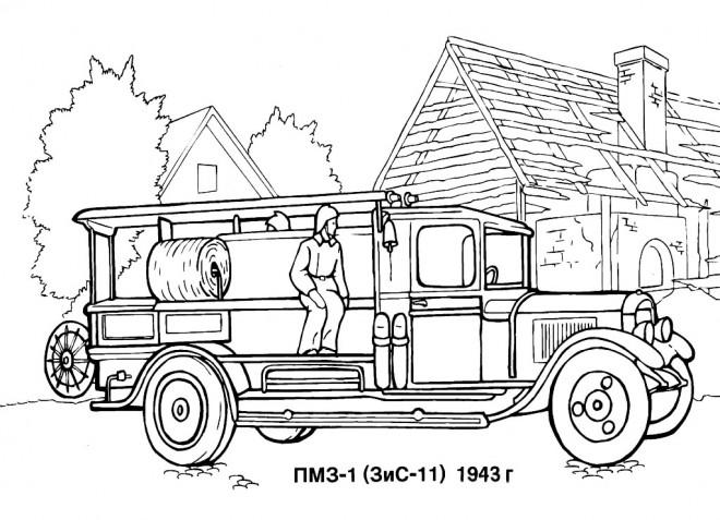 Coloriage Un Camion De Pompier Ancien Dessin Gratuit A Imprimer