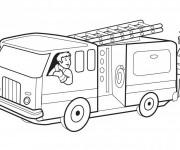 Coloriage et dessins gratuit Un Camion et Les  Pompiers à imprimer