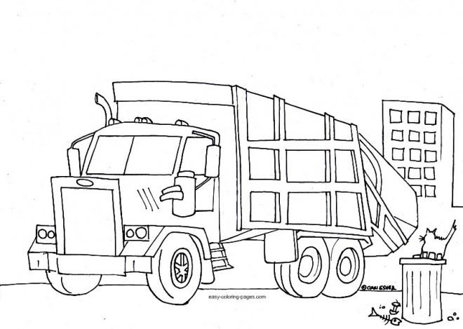 Coloriage et dessins gratuits Camion poubelle à imprimer