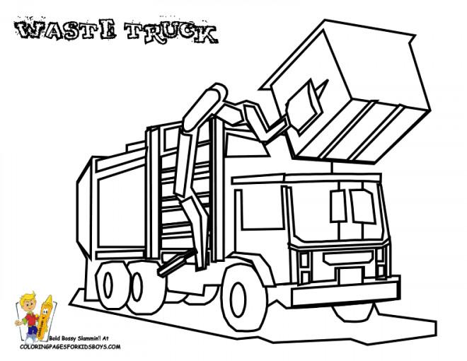 Coloriage et dessins gratuits Camion Poubelle à benne à imprimer